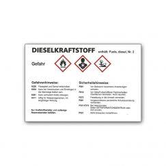 Autocollant d'avertissement diesel pour bidon Grandeur mm: 105x75