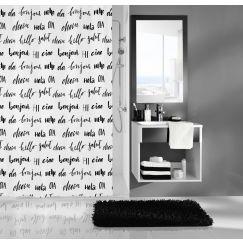 Rideau de douche Hello noir blanc 180 x 200 cm