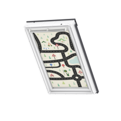 Store d'obscurcissement white line Roads 134 cm x 140 cm