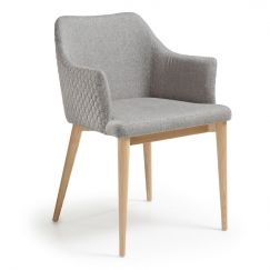 Fauteuil Danai wood & fabric gris clair, bois clair
