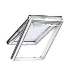 Fenêtre de toit à projection en PU 134 cm x 140 cm Polyuréthane avec noyau en bois Profilés extérieurs en zinc-titane Vitrage double Thermo 1