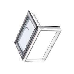 Fenêtre de sortie PU 66 cm x 118 cm Polyuréthane avec noyau en bois Profilés extérieurs en zinc-titane Vitrage triple Thermo 2