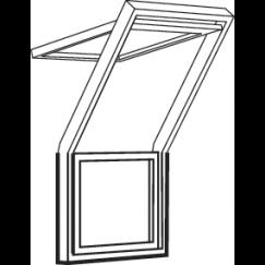 Fenêtre-terrasse centre 78 cm x 109 cm Bois de pin verni transparent Profilés extérieurs en zinc-titane Vitrage triple Thermo 2