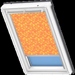Store d'obscurcissement orange à motifs jaunes 134 cm x 140 cm VELUX INTEGRA® Solar automatique