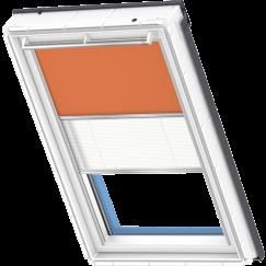 Store d'obscurcissement duo orange Store plissé blanc 134 cm x 140 cm