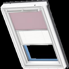 Store d'obscurcissement duo rose clair Store plissé blanc 134 cm x 140 cm