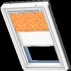 Store d'obscurcissement duo orange à motifs jaune Store plissé blanc 134 cm x 140 cm