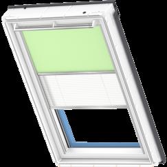 Store d'obscurcissement duo vert clair Store plissé blanc 134 cm x 140 cm