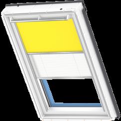 Store d'obscurcissement duo jaune Store plissé blanc 134 cm x 140 cm