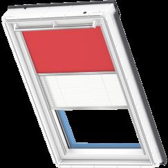 Store d'obscurcissement duo rouge Store plissé blanc 134 cm x 140 cm
