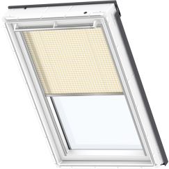 Store plissé blanc orange lignes 134 cm x 140 cm VELUX INTEGRA® Solar automatique