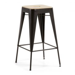 Tabouret Vita wood graphite, bois clair