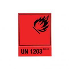 Autocollant d'avertissement pour bidon Grandeur mm: 100x130, Description: UN 1203