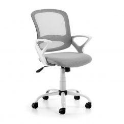 Chaise de bureau Lambert gris clair, blanc