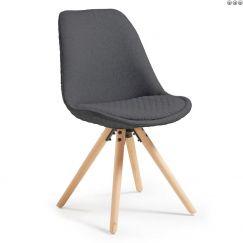 Chaise Lars wood & fabric gris foncé, bois clair