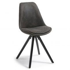 Chaise Lars dark wood & fabric graphite, bois foncé