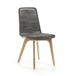 Chaise Glendon gris, bois clair