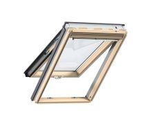 Fenêtre de toit à projection en bois 114 cm x 118 cm Bois de pin verni transparent Profilés extérieurs en aluminium Vitrage double Thermo 1