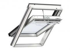 Fenêtre de toit à rotation en bois 55 cm x 78 cm Bois de pin peint en blanc Profilés extérieurs en aluminium Vitrage triple Thermo 2 VELUX INTEGRA® Solar automatique