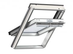 Fenêtre de toit à rotation en bois 55 cm x 78 cm Bois de pin peint en blanc Profilés extérieurs en aluminium Vitrage triple Thermo 2