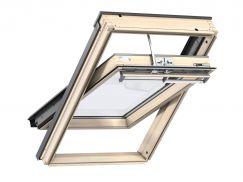 Fenêtre de toit à rotation en bois 55 cm x 78 cm Bois de pin verni transparent Profilés extérieurs en aluminium Vitrage triple Thermo 2 VELUX INTEGRA® electrique automatique