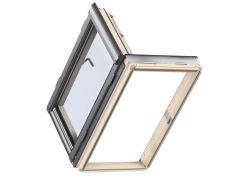 Fenêtre de sortie en bois 66 cm x 118 cm Bois de pin verni transparent Profilés extérieurs en aluminium Vitrage triple Thermo 2