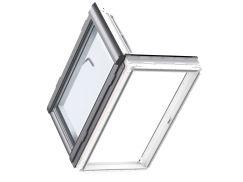 Fenêtre de sortie en bois 66 cm x 118 cm Bois de pin peint en blanc Profilés extérieurs en aluminium Vitrage triple Thermo 2