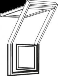 Fenêtre-terrasse gauche 78 cm x 109 cm Bois de pin peint en blanc Profilés extérieurs en aluminium Vitrage triple Thermo 2