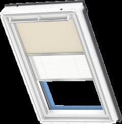 Store d'obscurcissement duo beige foncé Store plissé blanc 55 cm x 78 cm
