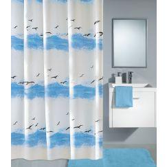 Rideau de douche Seaside bleu 120 x 200 cm