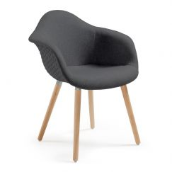 Fauteuil Kenna wood graphite, bois clair
