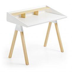 Table de travail Stick blanc, bois clair