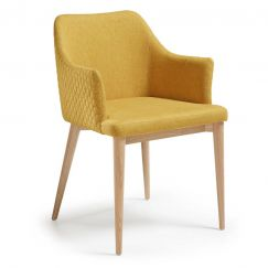 Fauteuil Danai wood & fabric moutarde, bois clair