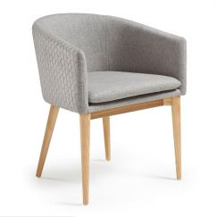 Fauteuil Harmon wood & fabric gris clair, bois clair