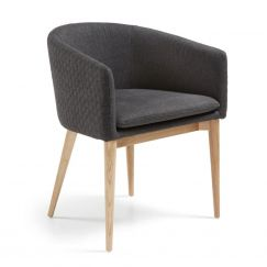 Fauteuil Harmon wood & fabric gris foncé, bois clair