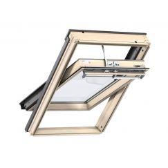 Fenêtre de toit à rotation en bois 55 cm x 78 cm Bois de pin verni transparent Profilés extérieurs en aluminium Vitrage double Thermo 1 VELUX INTEGRA® electrique automatique