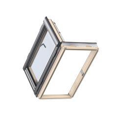 Fenêtre de sortie en bois 66 cm x 118 cm Bois de pin verni transparent Profilés extérieurs en aluminium Vitrage double Thermo 1