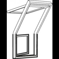 Fenêtre-terrasse droite 78 cm x 109 cm Bois de pin verni transparent Profilés extérieurs en zinc-titane Vitrage triple Thermo 2