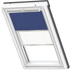 Store d'obscurcissement duo bleu Store plissé blanc 55 cm x 78 cm