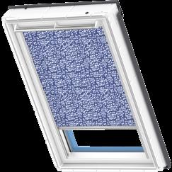 store rideau bleu à motifs blancs 134 cm x 140 cm VELUX INTEGRA® Solar automatique