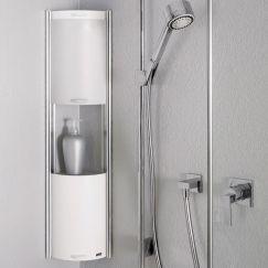Showerbox, 3 éléments coulissants, 062 Platinum argent, H 850 mm
